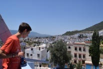 Looking out at Chefchaouen form the hotel.